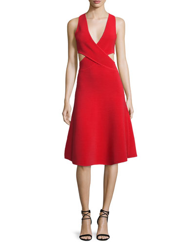 Cutout Ribbed Cross-Front Dress, Red
