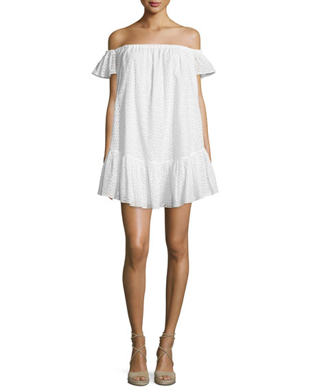 Pippa Off-The-Shoulder Eyelet Dress, White