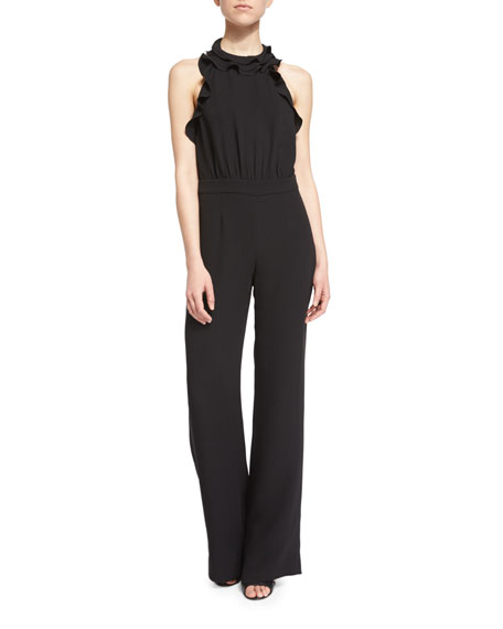 Blithe Silk Ruffle-Trim Halter Jumpsuit, Black