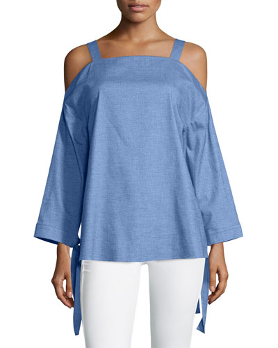 Cold-Shoulder Chambray Top, Brilliant Denim