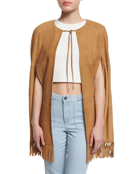 Lyn Paneled Suede Fringe Cape, Tan