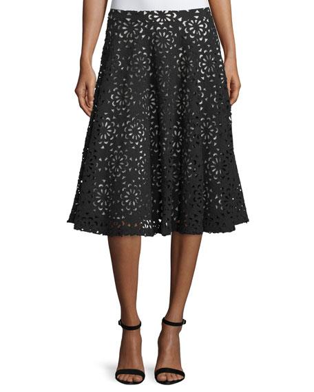 Viviana Floral A-Line Skirt, Black/Sesame