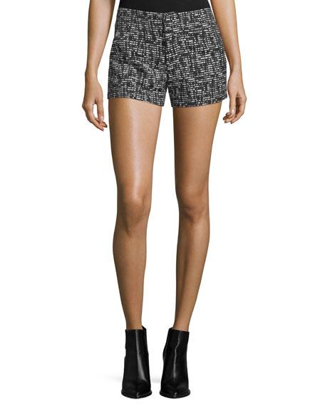 Kristie Slim-Fit Tweed Shorts, Black/White