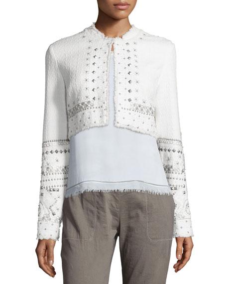 Doris Embellished Cropped Jacket, White