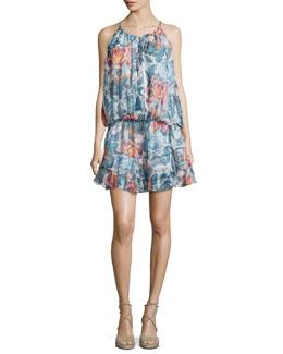Kenji Sleeveless Floral-Print Dress, Multi/Black