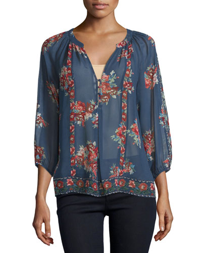Gloria F Floral-Print Silk Top