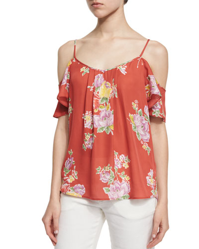Adorlee Floral-Print Cold-Shoulder Top