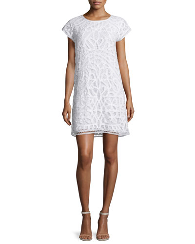 Tabbetha Crocheted Cap-Sleeve Dress