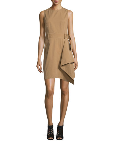 Sleeveless Draped Trench Dress, Khaki