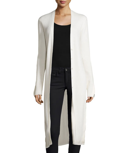 Long Ribbed Wool-Blend Cardigan, White