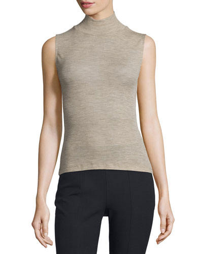 Sheer Wool Ribbed Turtleneck Top, Camel
