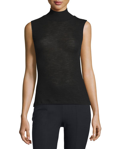 Sheer Wool Ribbed Turtleneck Top, Black