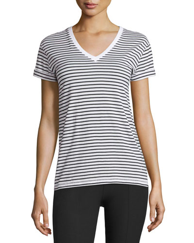 Superfine Jersey V-Neck Tee, Ivory/Black