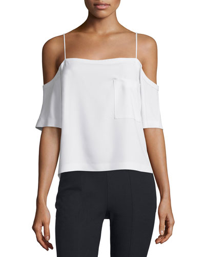 Crepe Cold-Shoulder Top, Ivory