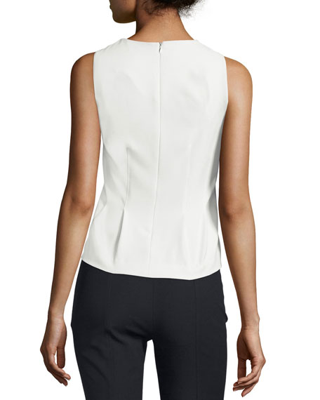 Sleeveless Paneled Stretch Twill Top, Ivory