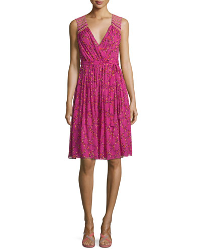 Bali Sleeveless Shalamar Trellis Silk Wrap Dress, Pink
