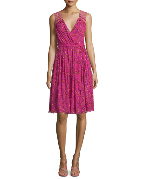 Diane Von Furstenberg Bali Sleeveless Shalamar Trellis Silk Wrap Dress Pink