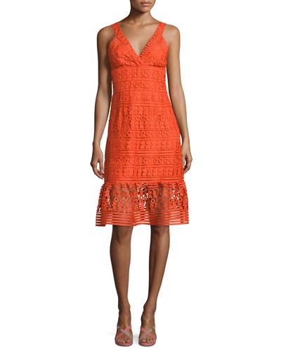 Tiana Sleeveless Lace Flounce Dress, Orange