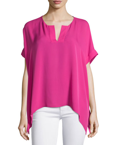 Abbi Short-Sleeve Silk Top, Vivid Pink