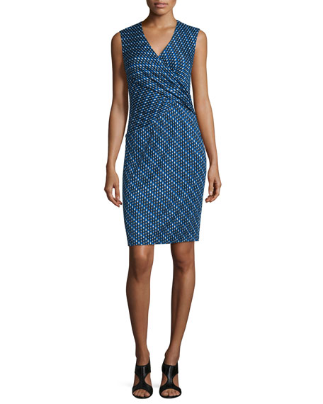 Leora Silk Diagonal Dots Sheath Dress