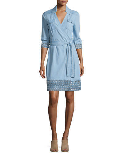 Savion Collared Chambray Wrap Dress, Light Indigo