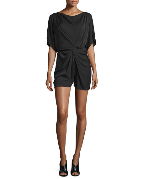 Maxinne Short-Sleeve Stretch Silk Romper, Black
