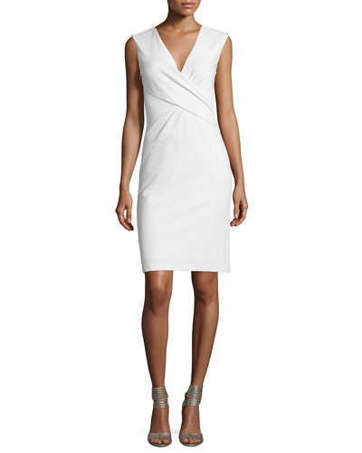Leora Sleeveless Crepe Sheath Dress, White