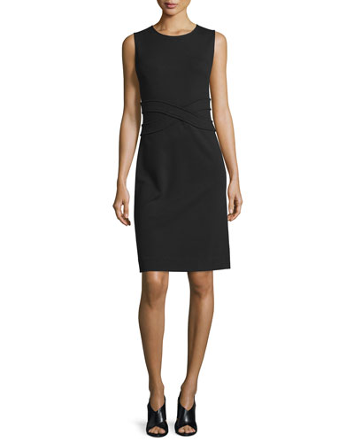 Evita Sleeveless Crepe Sheath Dress, Black