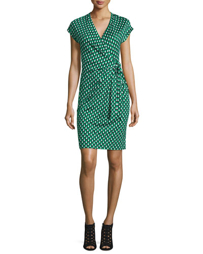 Sascha Dots Faux-Wrap Sheath Dress, Green