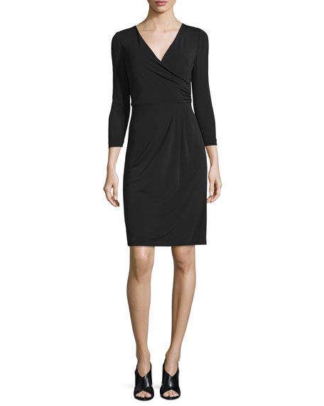 Calista 3/4-Sleeve Sheath Dress, Black