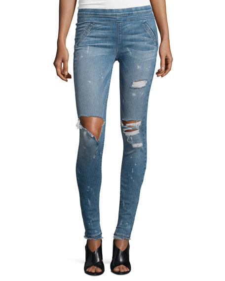 Sonia Distressed Skinny Jeans, Blue Mist
