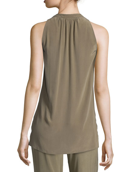 Livilla Summer Silk Sleeveless Top, Moss