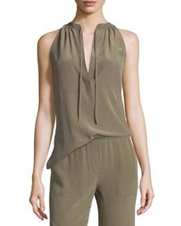 Livilla Summer Silk Sleeveless Top, Moss