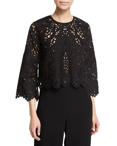 Brizabela Embroidered-Lace Top