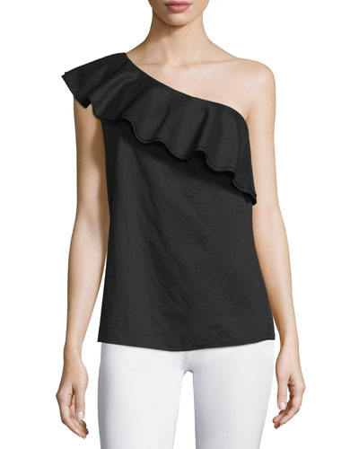 Damarill Lawn One-Shoulder Ruffled Top