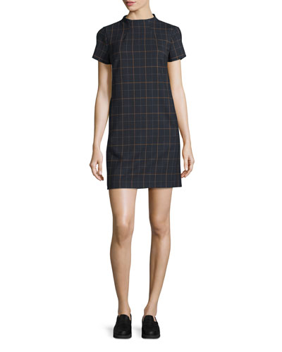 Jasneah Tile-Check Short-Sleeve Dress