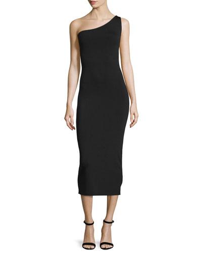 Yuleena Lustrate One-Shoulder Midi Dress