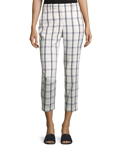 Treeca Two-Mix Checked Cropped Pants