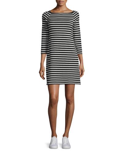 Lesnoy Deluxe Striped Quarter-Sleeve Dress