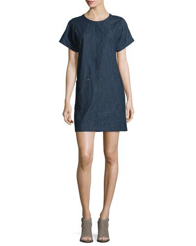 Ryder Short-Sleeve Chambray Shift Dress, Indigo