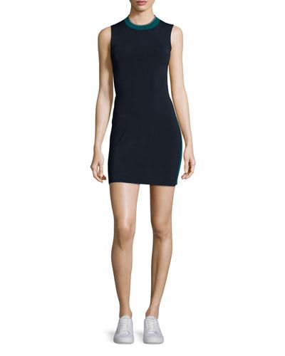 Lucine Sleeveless Two-Tone Sheath Dress, Teal/Navy