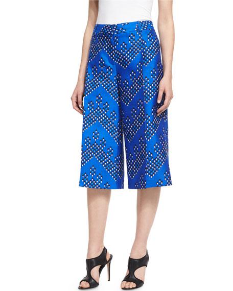 Diane von Furstenberg Stanton Chevron Dots Wool-Silk Mikado