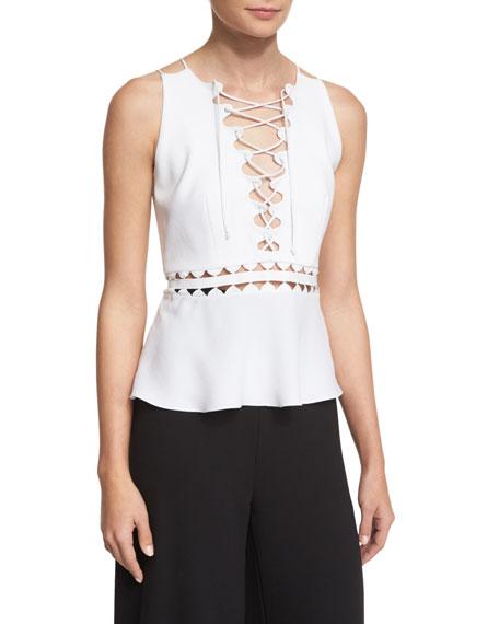 Sleeveless Lace-Up Top w/ Cutouts, White
