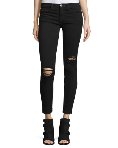 The Stiletto Distressed Skinny Cropped Jeans, Black