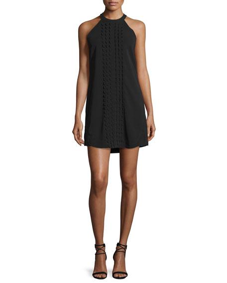 Liv Sleeveless Scalloped Mini Dress, Black