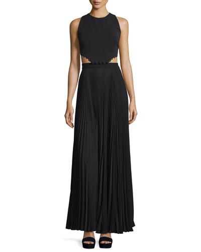 Marco Sleeveless Cutout Maxi Dress, Black