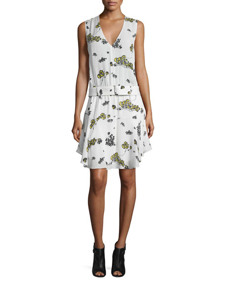 Hadley Belted Floral Silk Dress, Eggshell/Cactus/Mint
