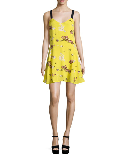 Serena Sleeveless Floral Silk A-Line Dress, Cactus
