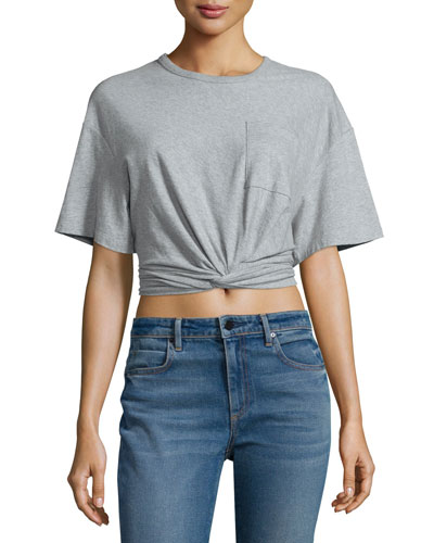 Cropped Twist-Front Jersey Top, Heather Gray