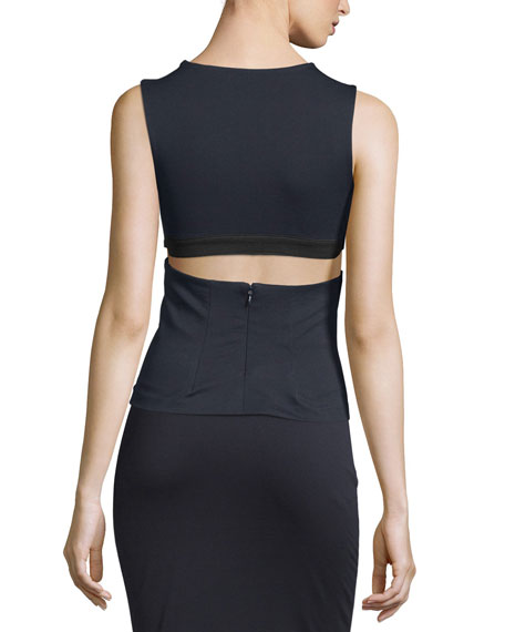 High Lux Ponte Cutout Top, Navy